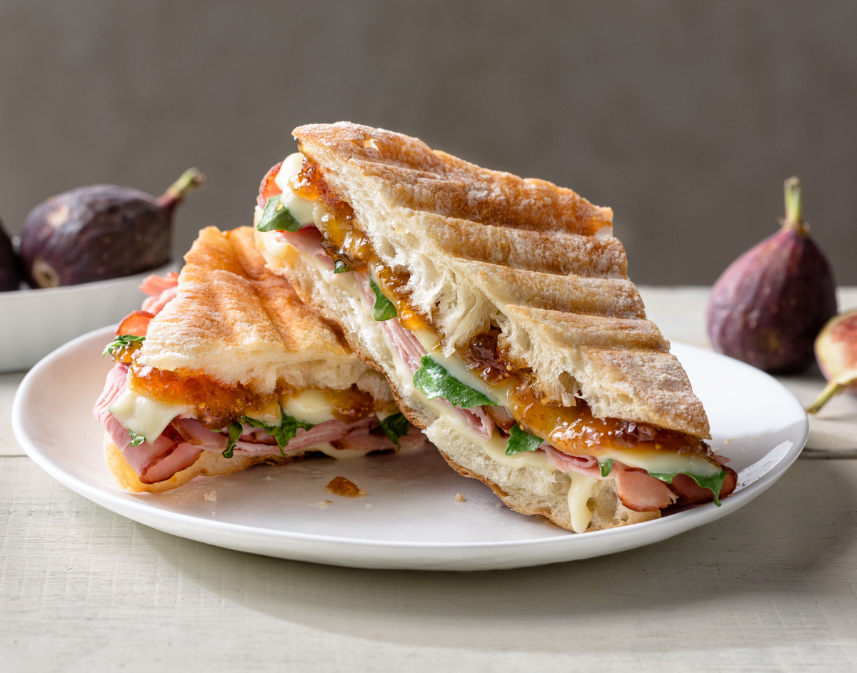 Ham and cheese sandwich with fig jam.