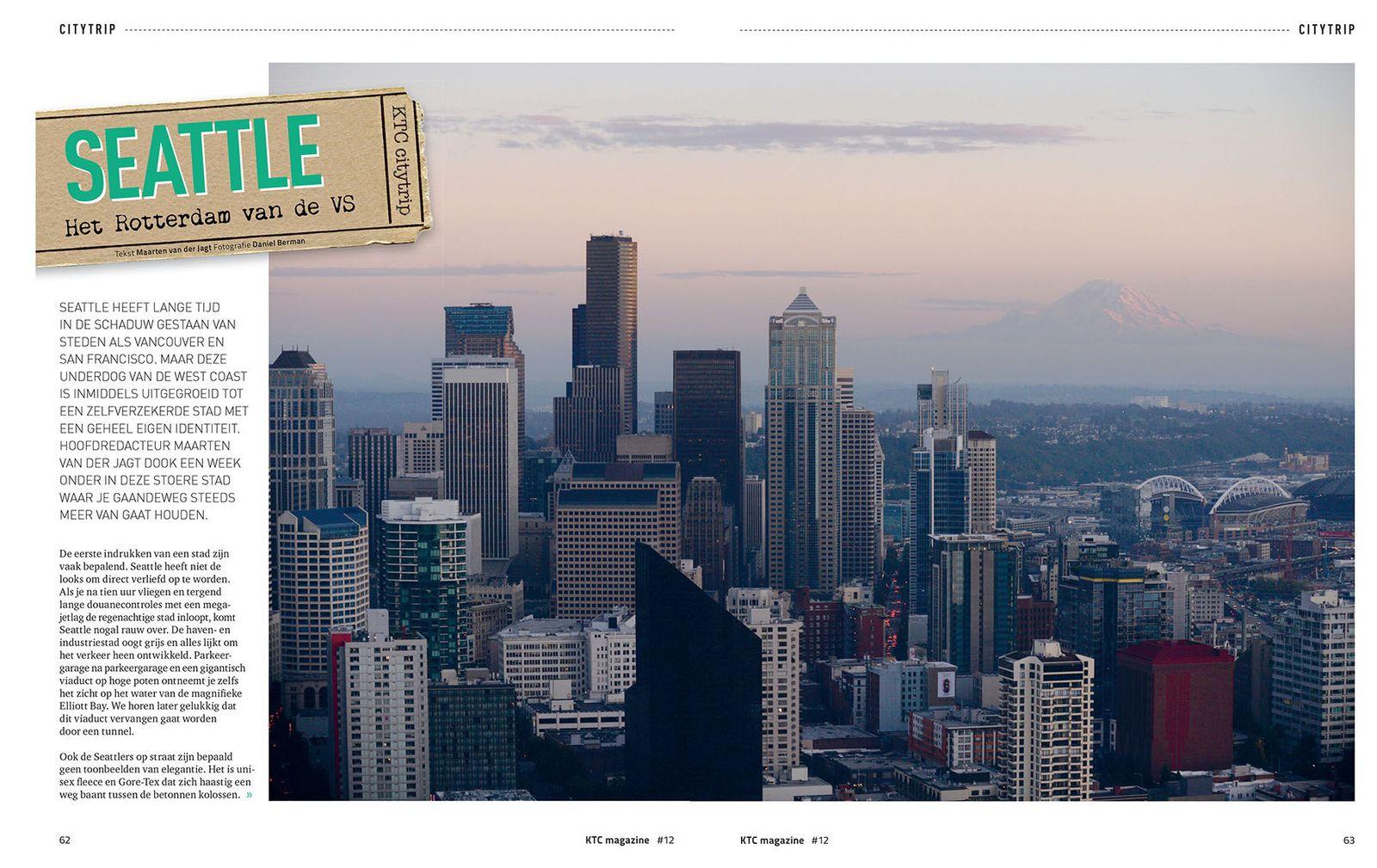 Seattle editorial photographer, Sunset Seattle skyline with Mt. Rainier