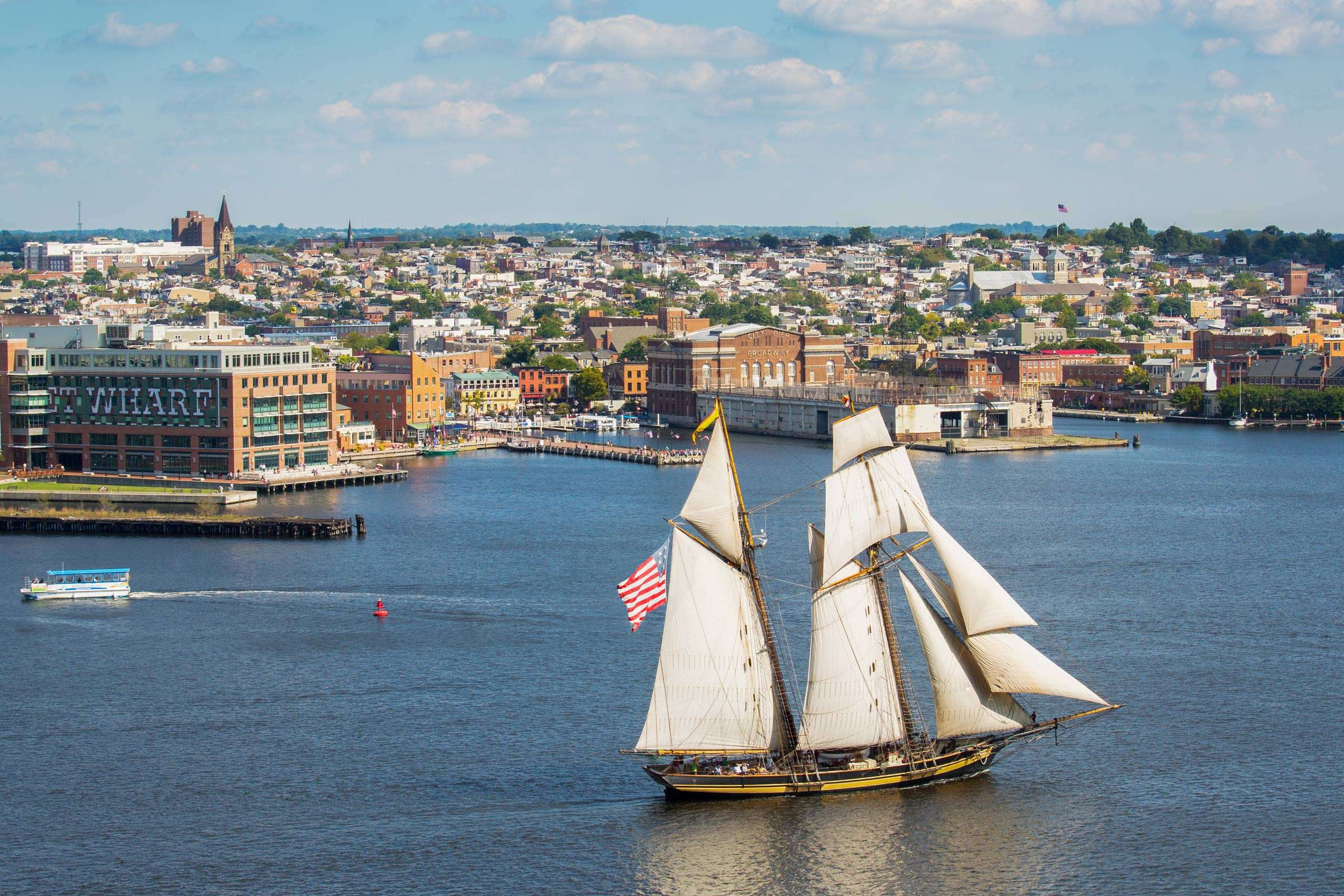 PORTFOLIO - Baltimore - Neighborhoods    #24   Pride of Baltimore II sailing by Fells Point.