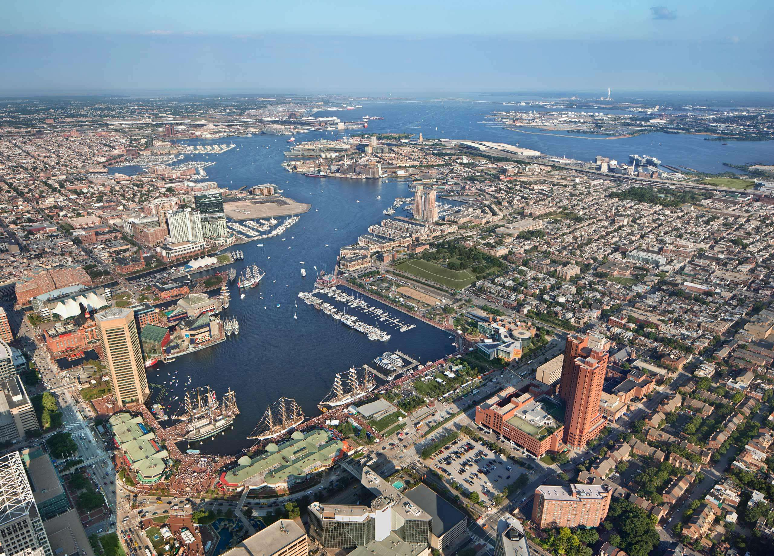 PORTFOLIO - Baltimore - Skylines #6 and Baltimore - Attractions  #24 Aerial View of Baltimore's Inner Harbor PCG698