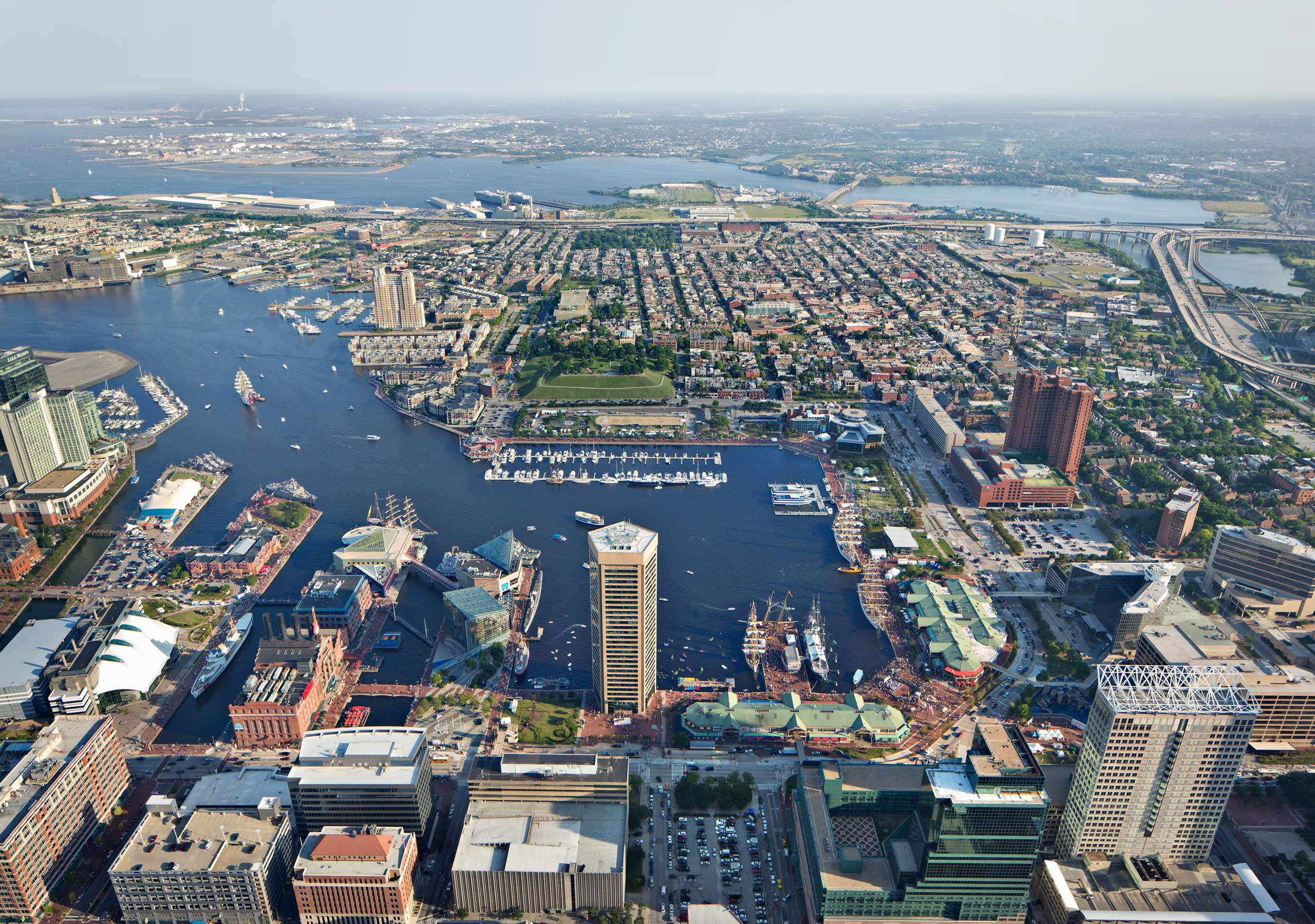 PORTFOLIO - Baltimore - Skylines #5 and Baltimore - Attractions  #25  Aerial View of Baltimore's Inner Harbor PCG 696