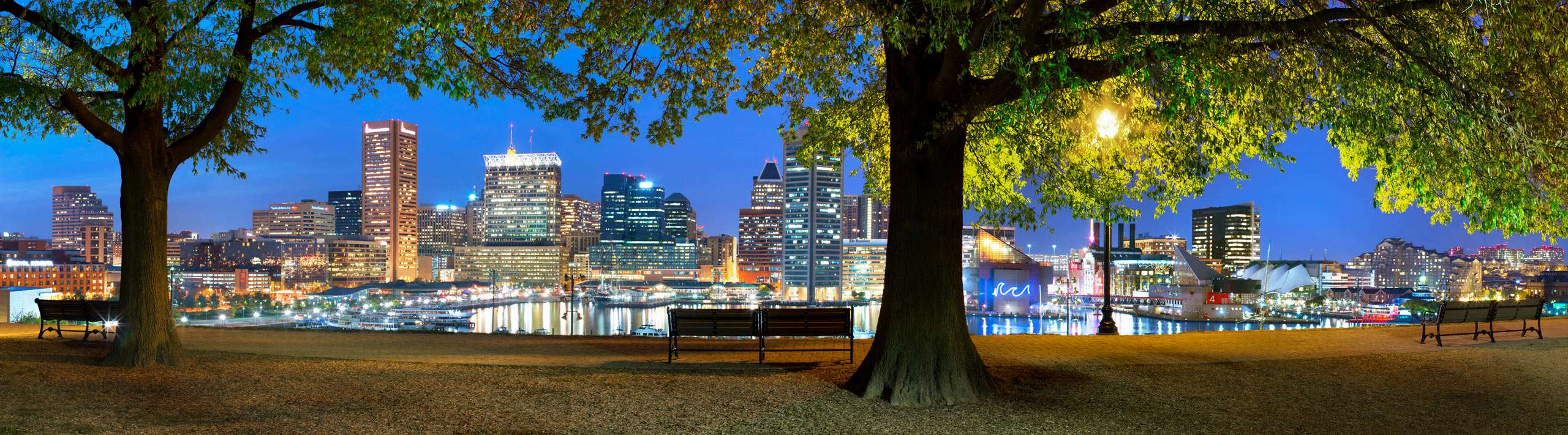 Federal Hill Park Benches and View of Downtown Baltimore