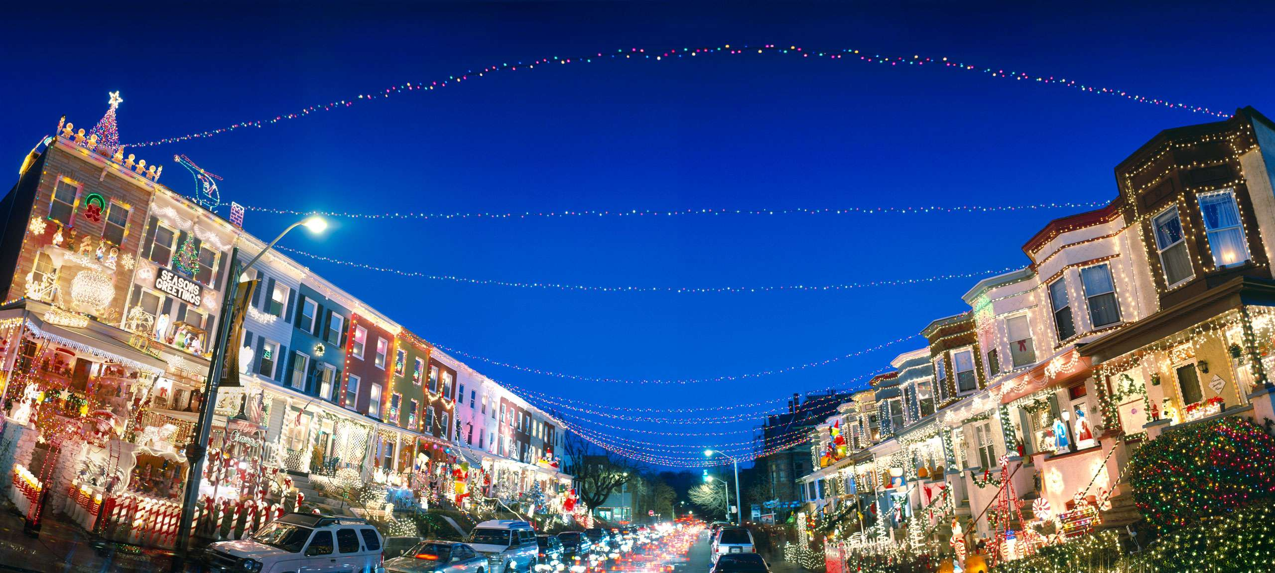 PORTFOLIO - Baltimore - Neighborhoods   #17  Houses with Christmas Decorations, 34th Street Hampden