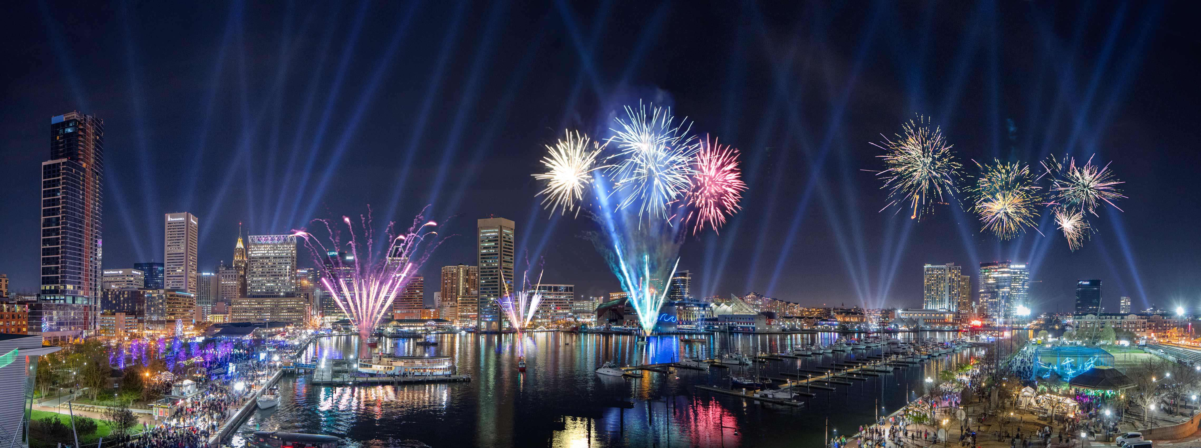 Light City Baltimore with Lights and Fireworks