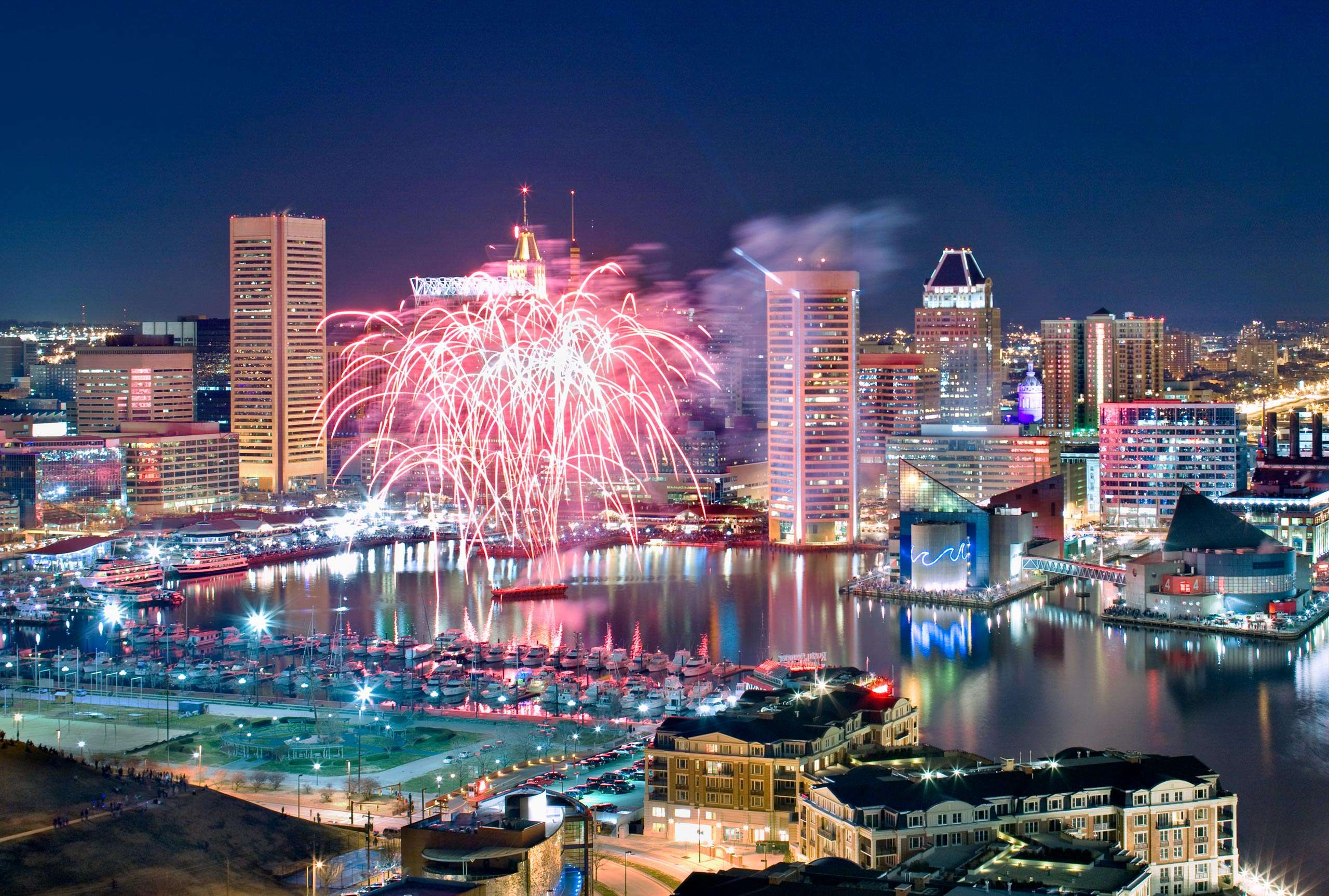 Baltimore Skyline and Inner Harbor with Fireworks