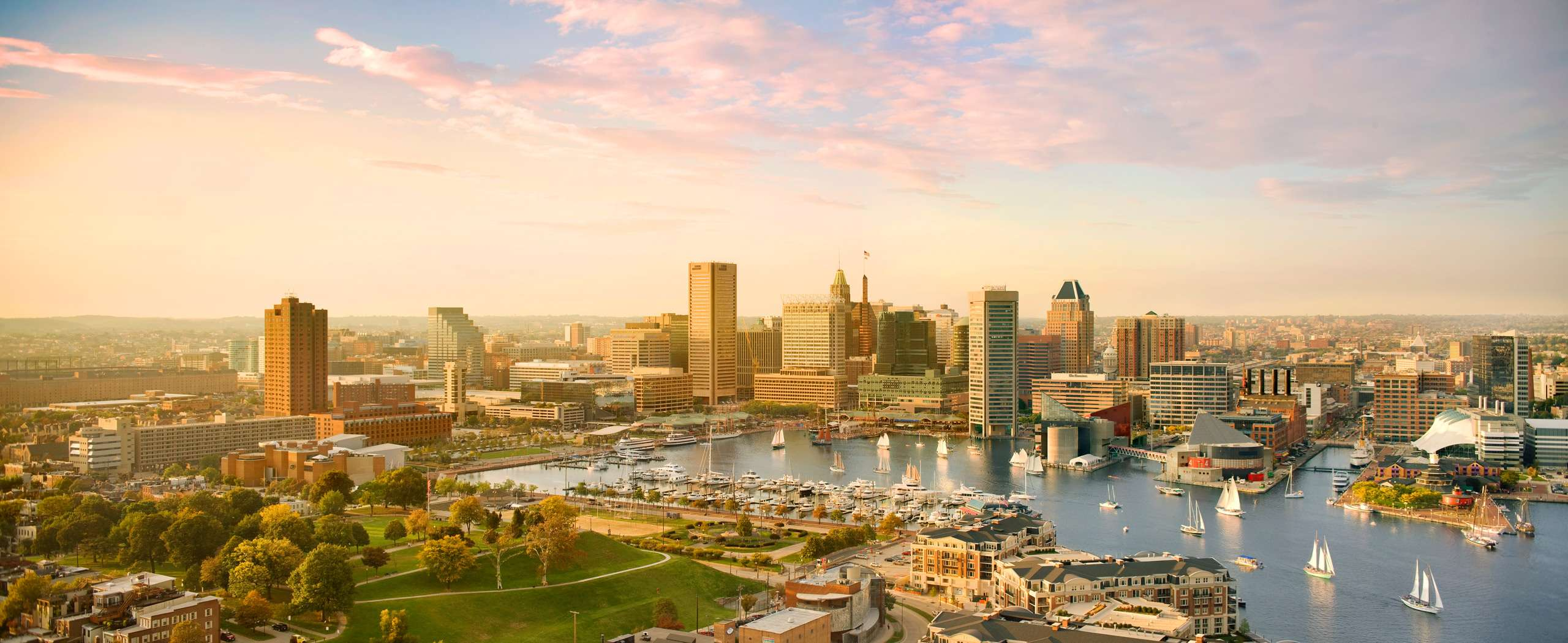 Baltimore Skyline and Inner Harbor with Sailboats