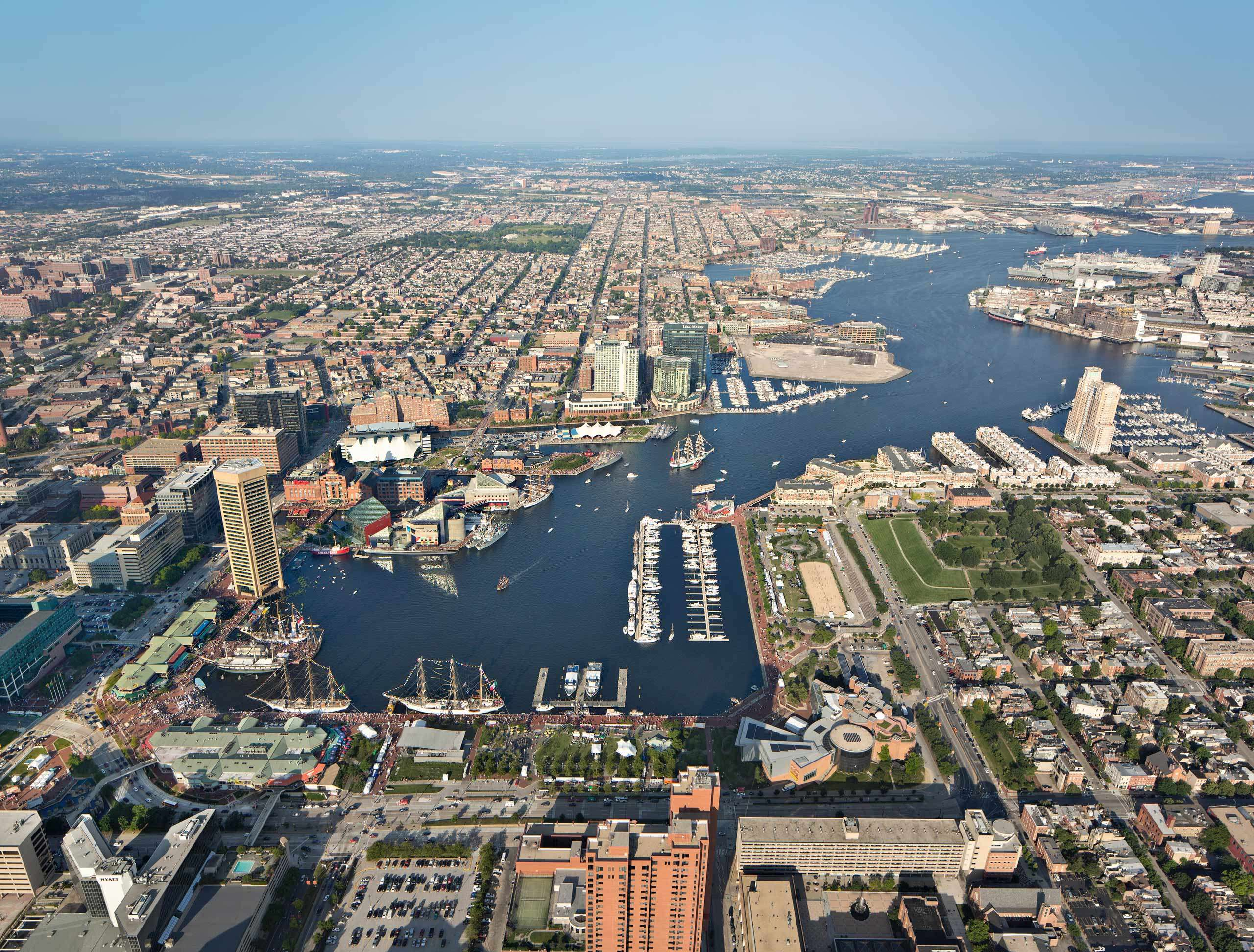 PORTFOLIO - Baltimore Skylines #7 and Baltimore - Attractions #23  Aerial View of Baltimore's Inner Harbor PCG695