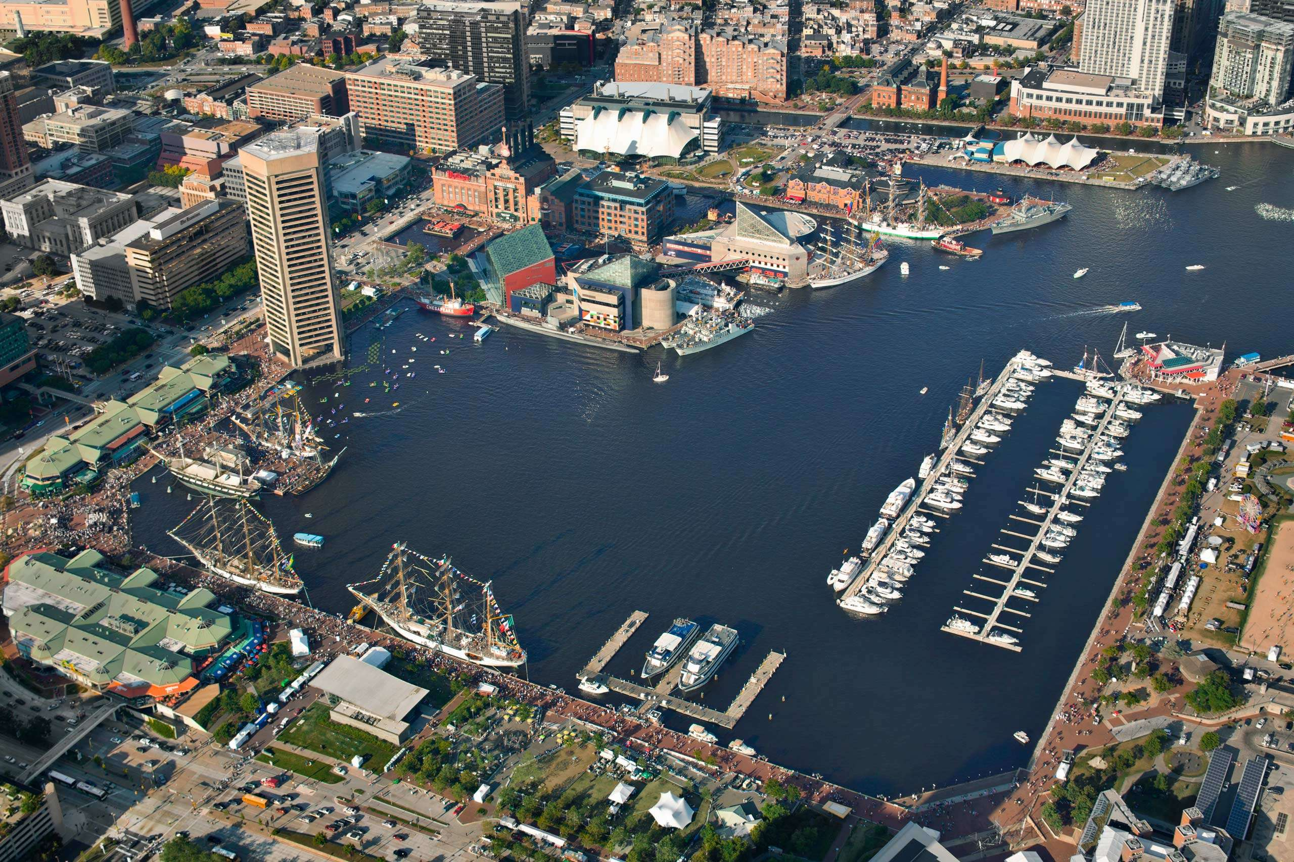 PORTFOLIO - Baltimore Skylines #8 and Baltimore - Attractions #22 Aerial View of Baltimore's Inner Harbor PCG694