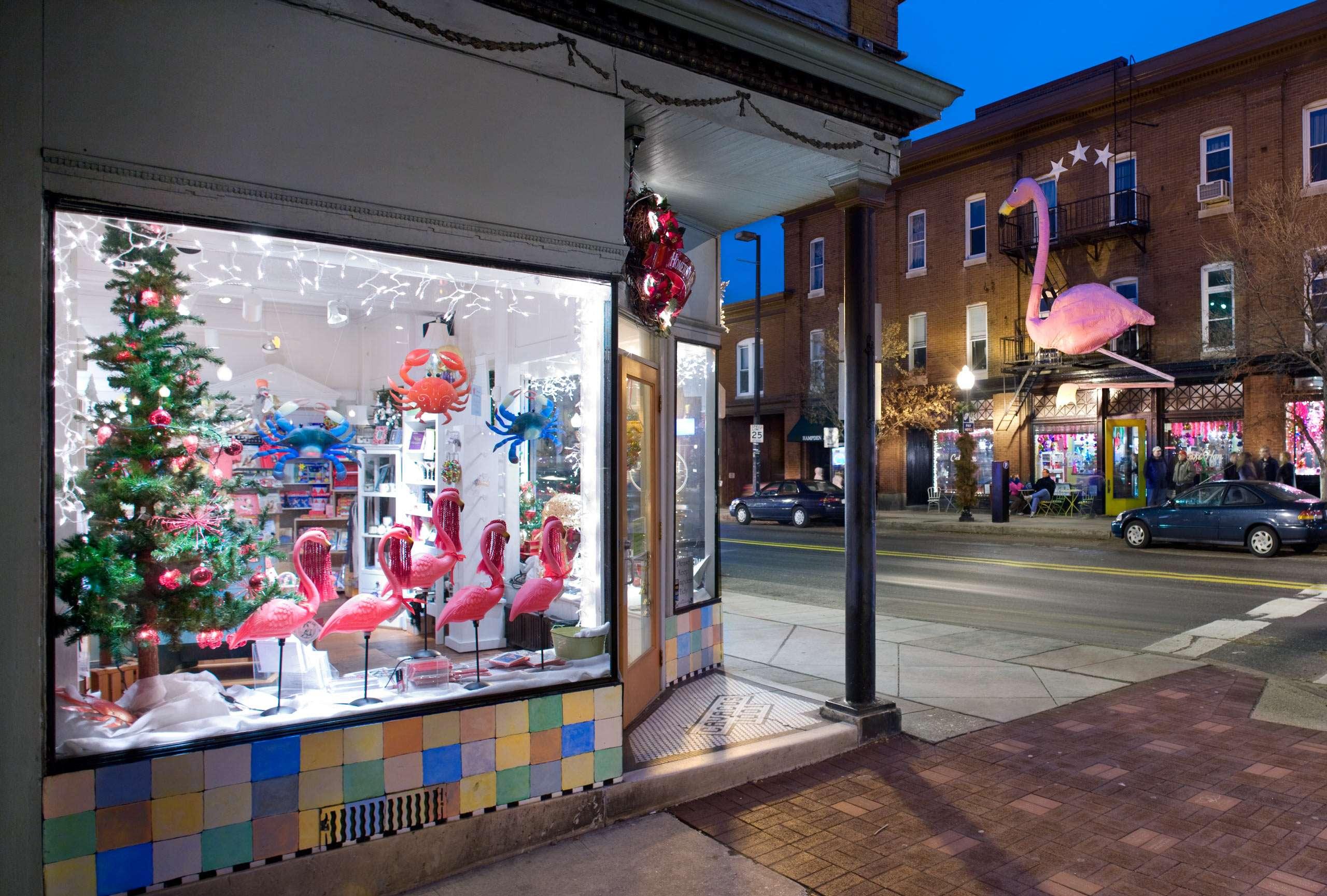 PORTFOLIO - Baltimore - Neighborhoods  #16  Hampden Shop with Christmas Decorations