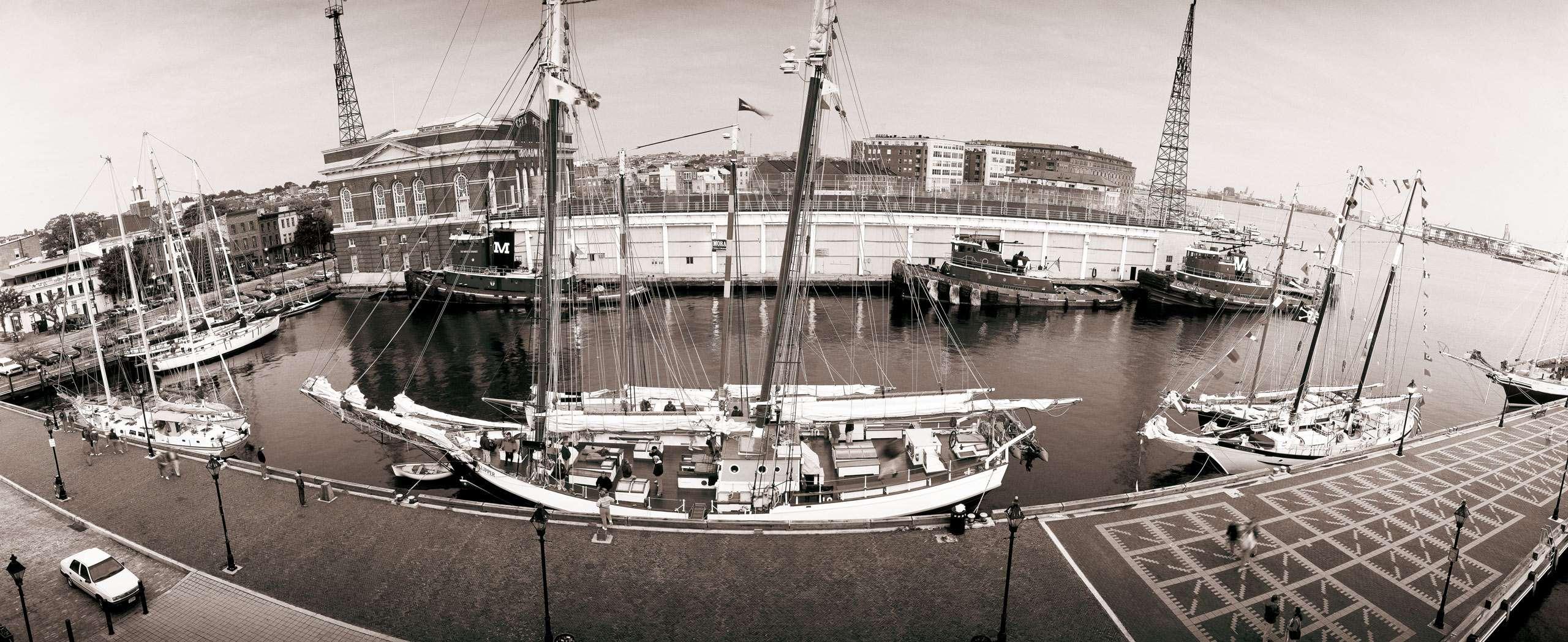 PORTFOLIO - Baltimore - Neighborhoods    #23   Fells Point with schooners and tugboats docked.