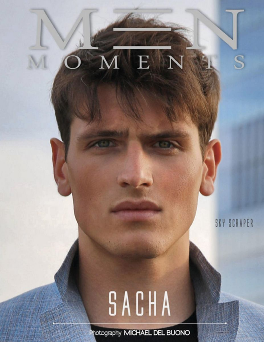 cover of JULY issue of MEN MOMENTS MAGAZINE by michael del buono