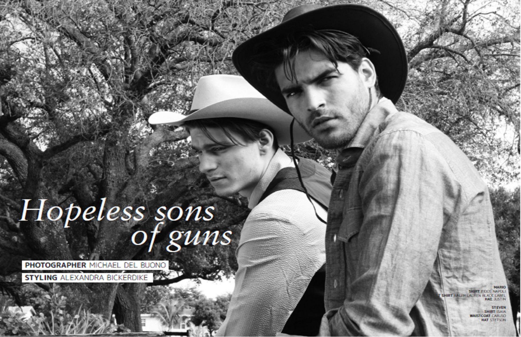HOPLE SONS OF GUNS for JON MAGAZINE LONDON by MICHAEL DEL BUONO