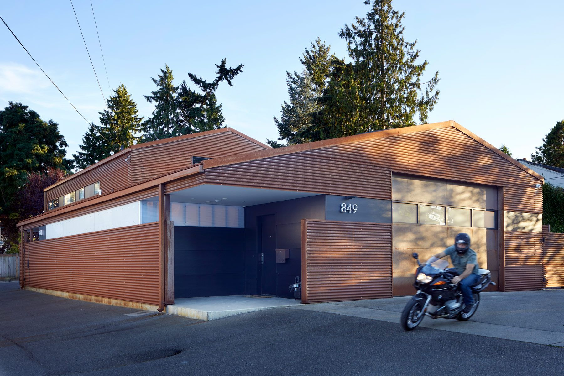 motorcycle, corten, garage, seattle, corten