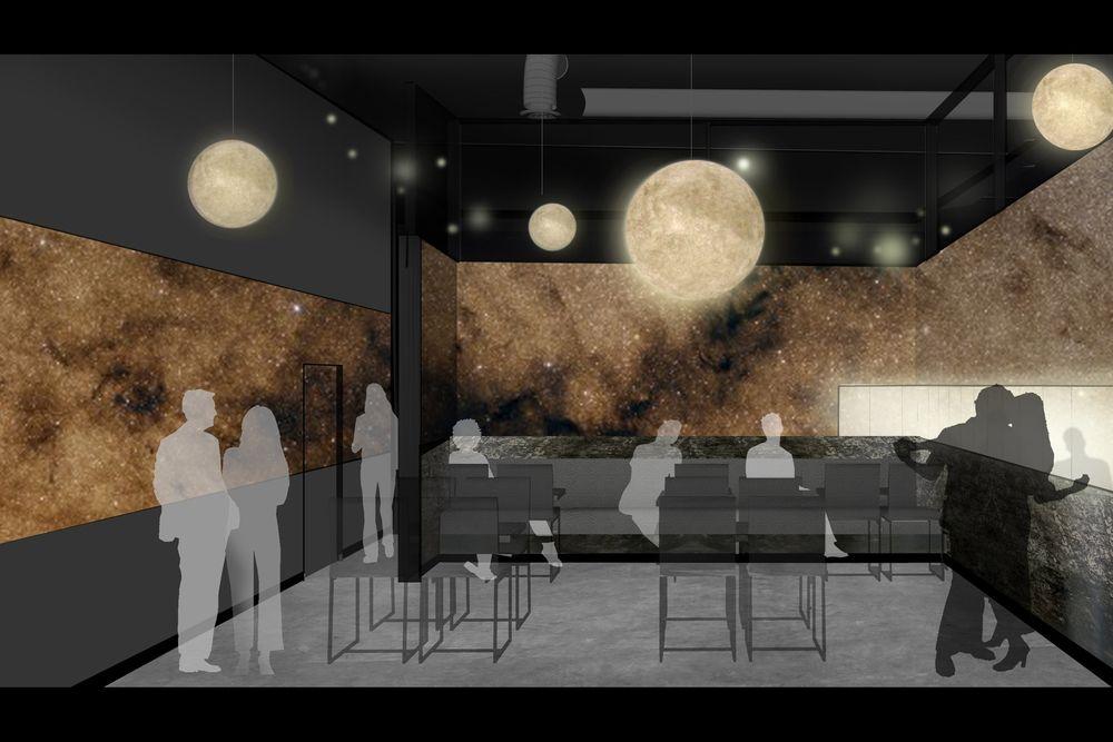 bar, hospitality design, modern architecture, glowing ball