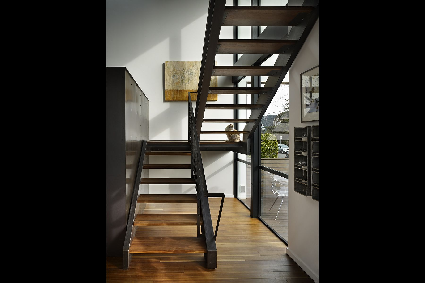 steel, walnut, stair, industrial, metal, architect
