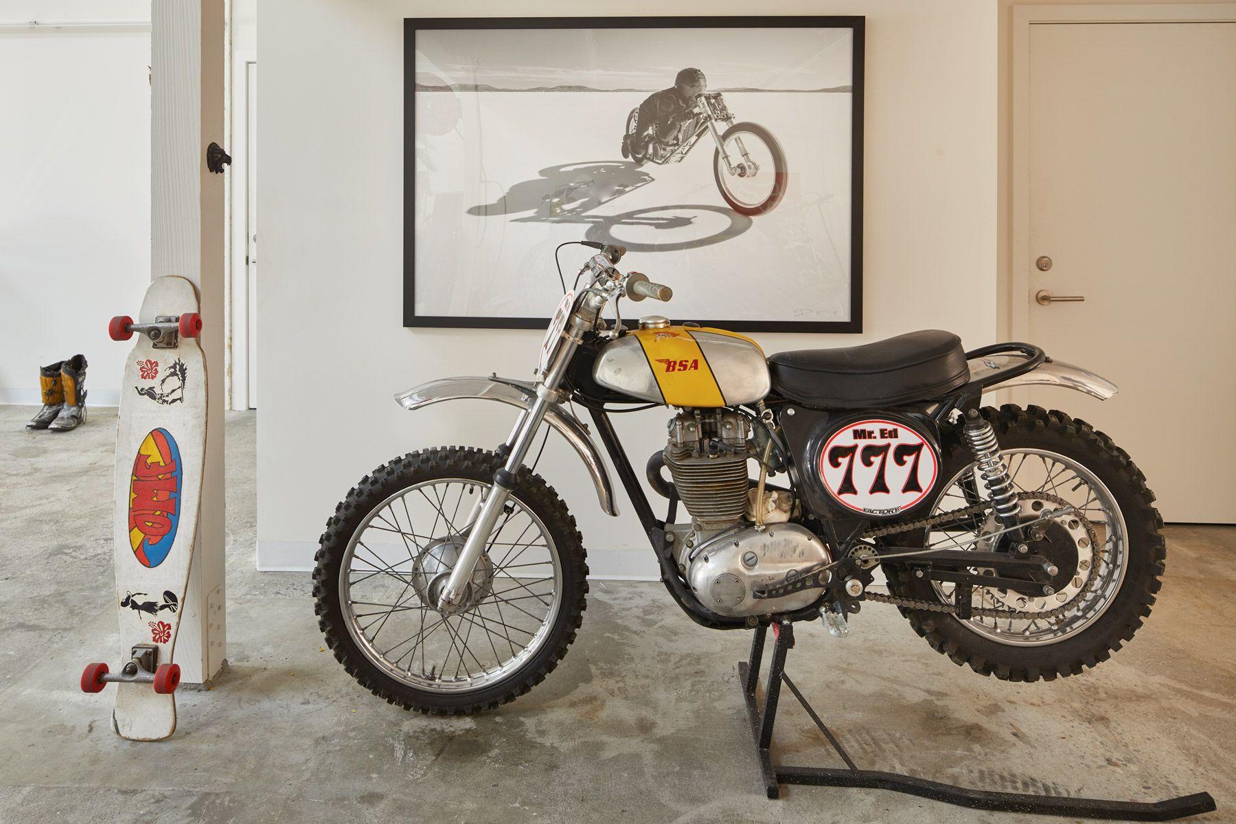vintage motorbike, skateboard, man cave, mr ed