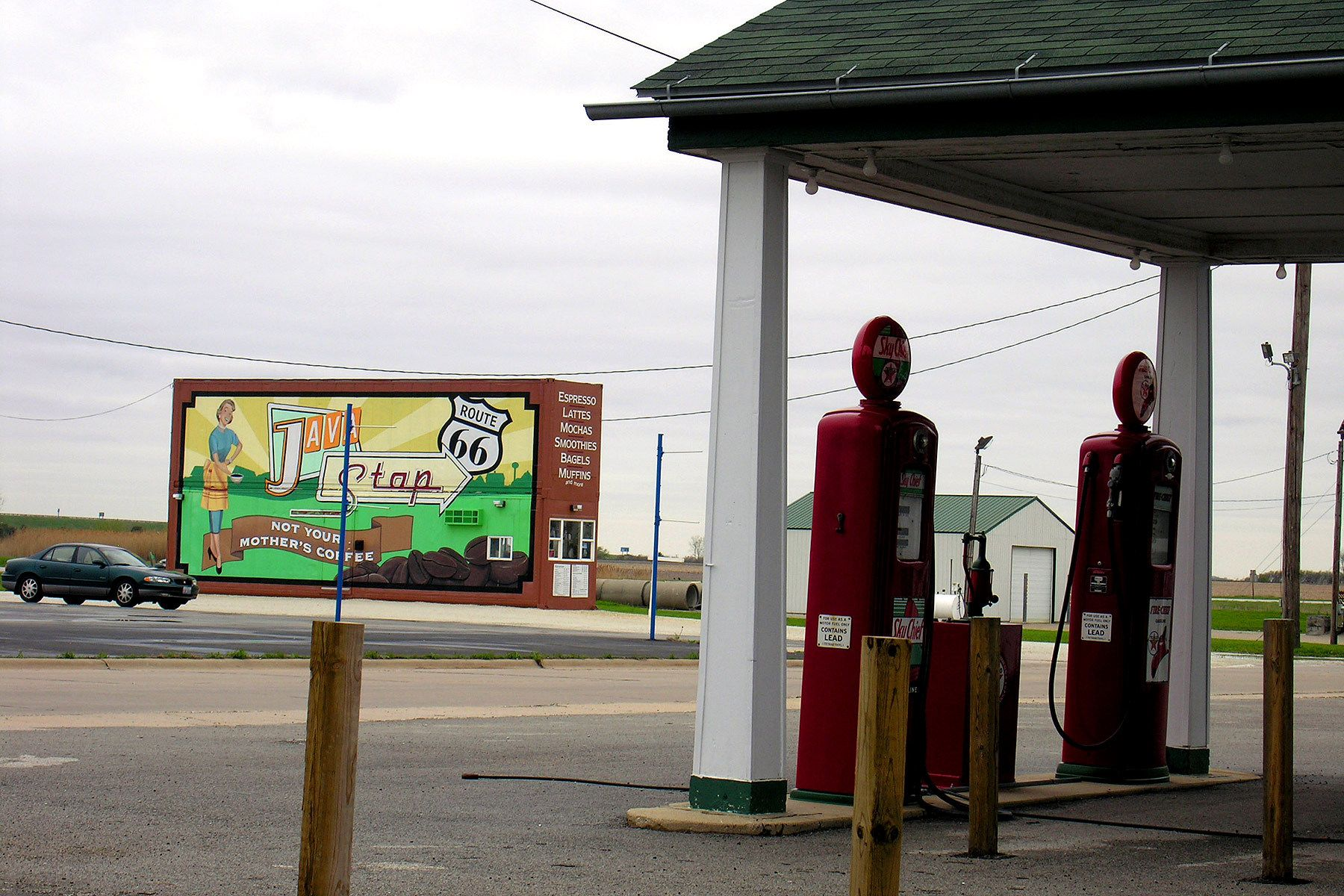 billboard, modern, route 66, café, Illinois