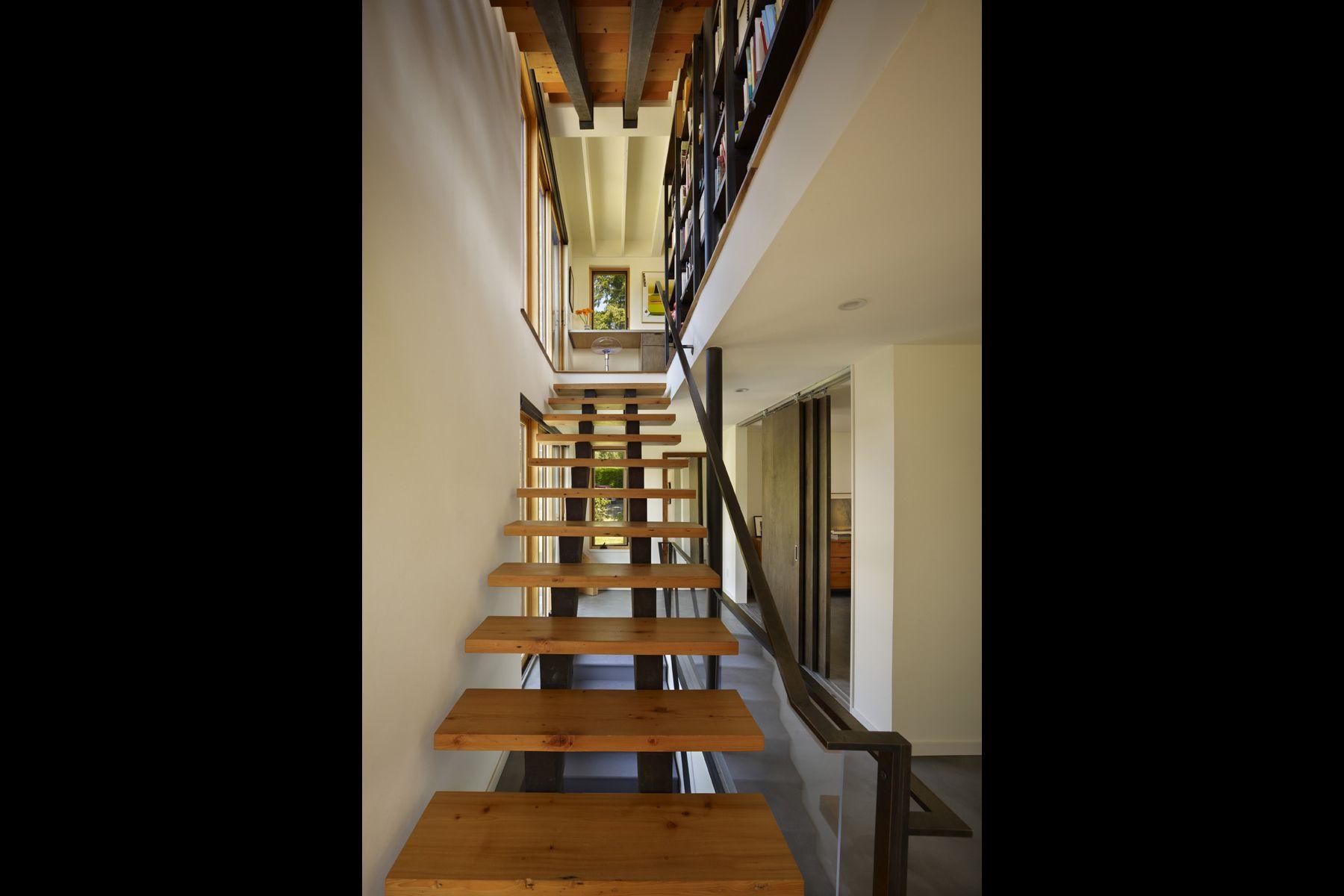 modern stairway, steel handrail, wood, steel, interior design