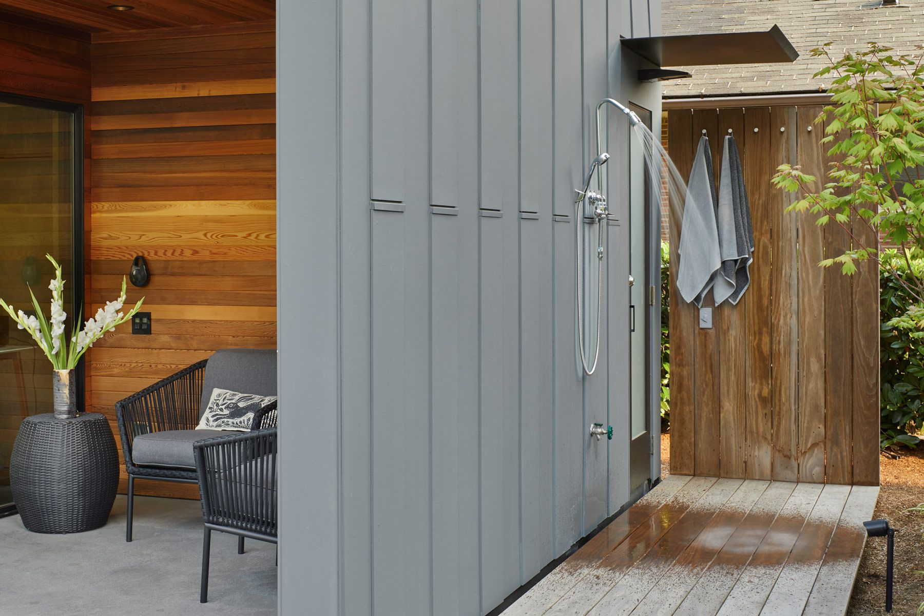 Cycle House Studio enty and outdoor shower