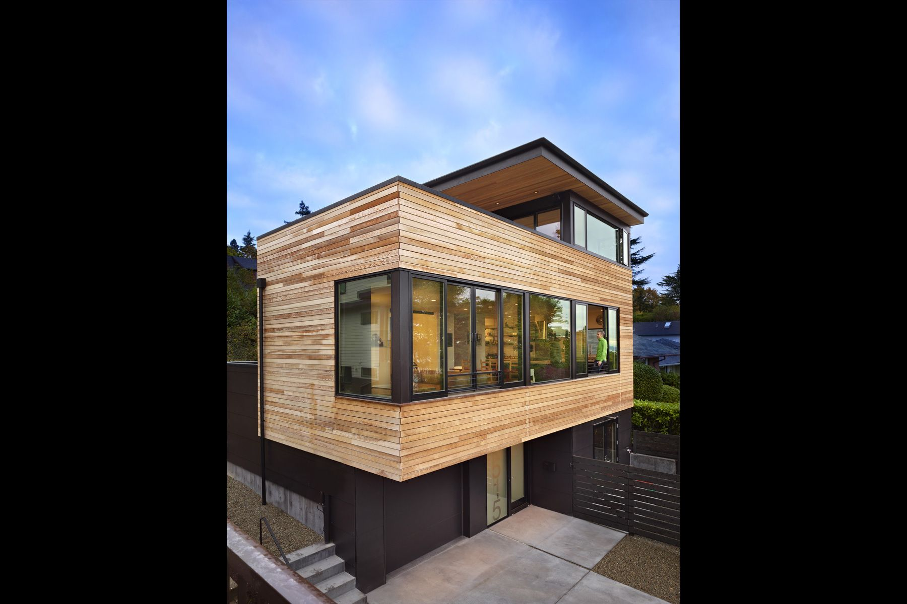 contemporary, residence, cantilever, urban, Seattle