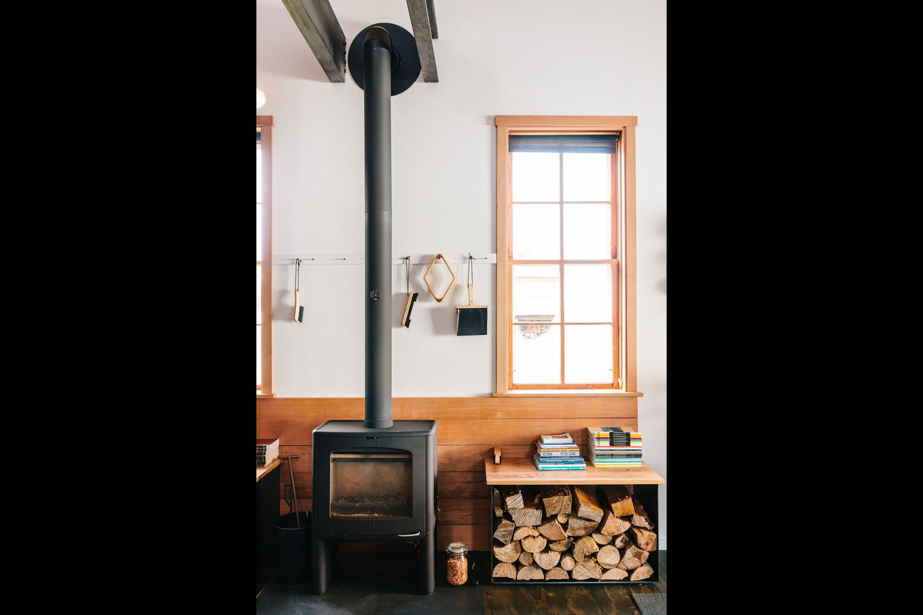 wood stove, fireplace, wood storage, home design, scandanavian design