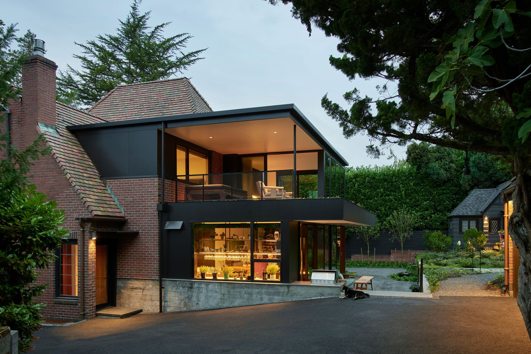 modern conservatory, modern brick, black siding, Seattle Tudor, entertainment, backyard