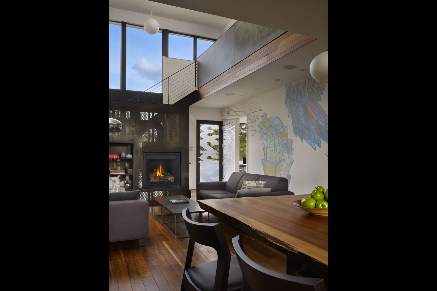 modern, mural, interior, dining, fireplace, home