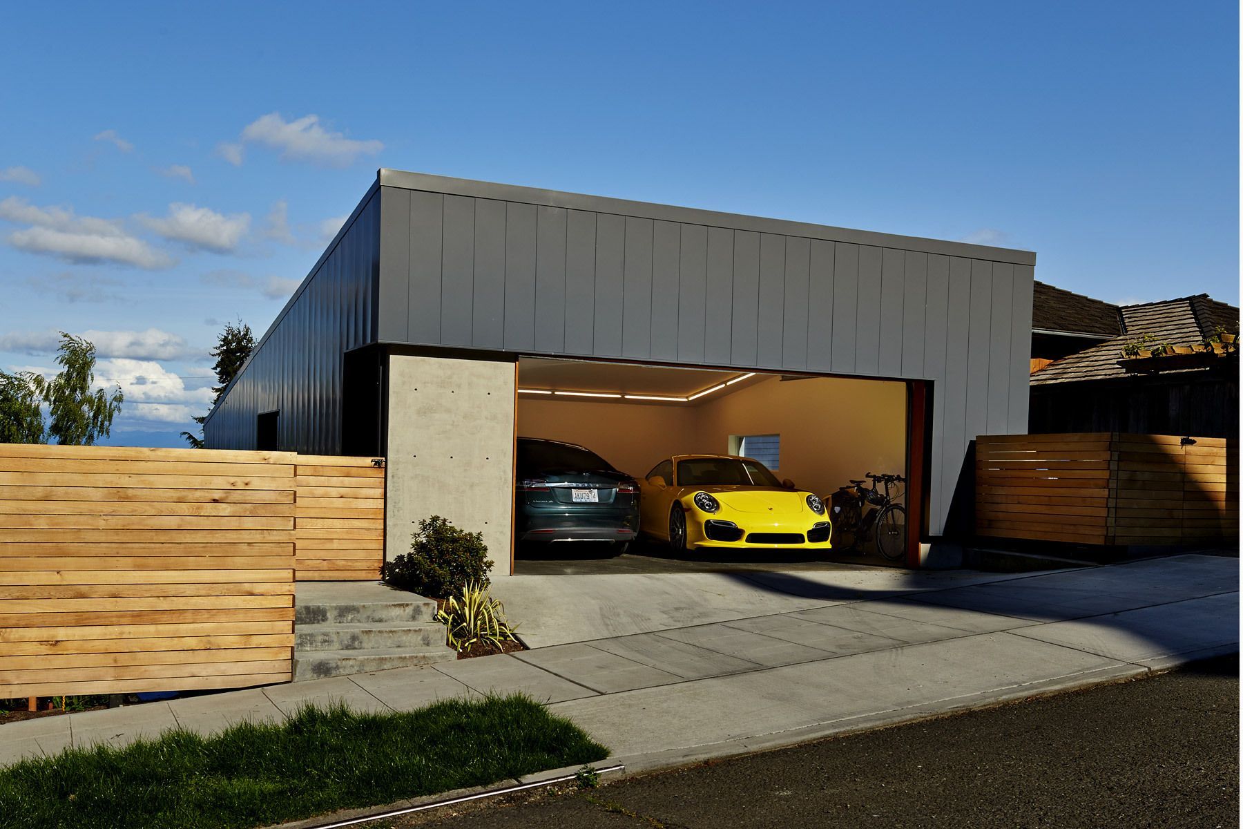 tesla garage front open