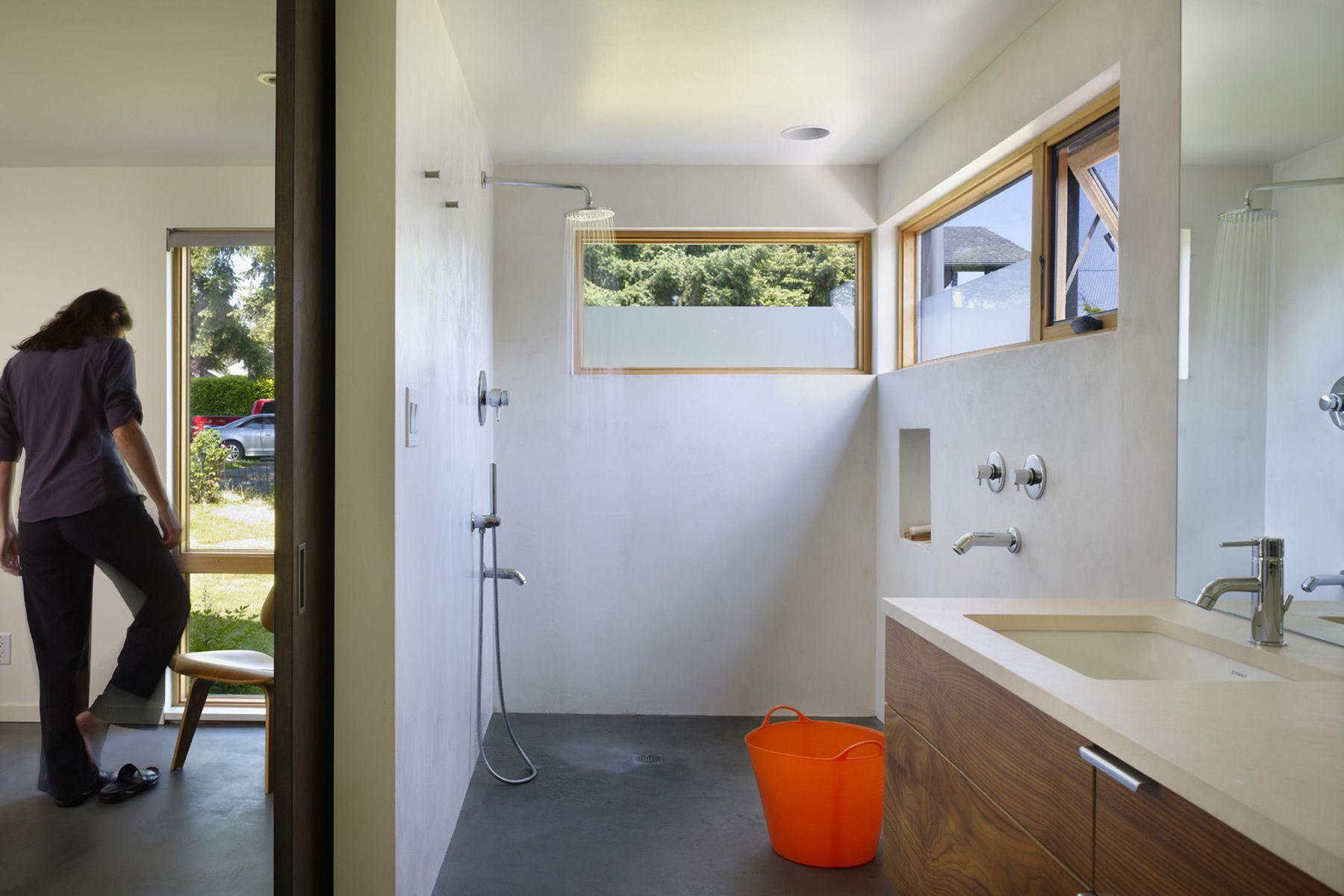 bathroom, white, plaster, shower, PNW