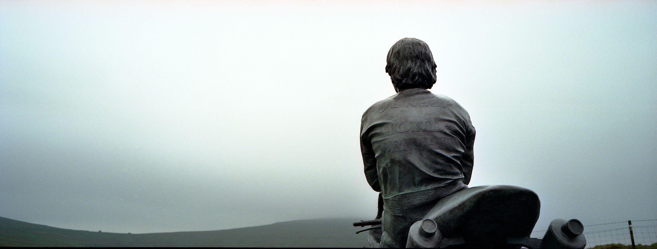 Statue of Legendary TT rider Joey Dunlop on the Isle of Mann.