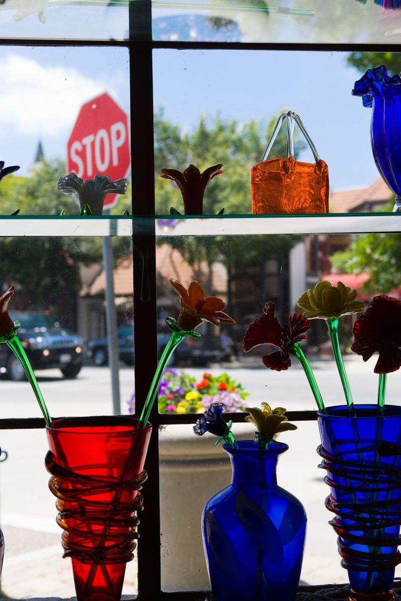 Display window of souvenier shop in Solvang, California