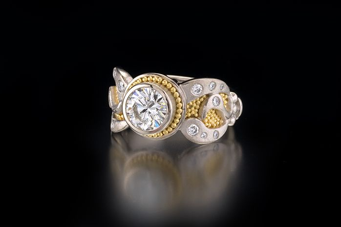 CHENIILLE RING WITH 1.5 CARAT DIAMOND