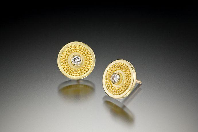 SMALL DIAMOND DISC EARRINGS