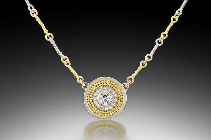 DISC NECKLACE WITH PAVE DIAMONDS