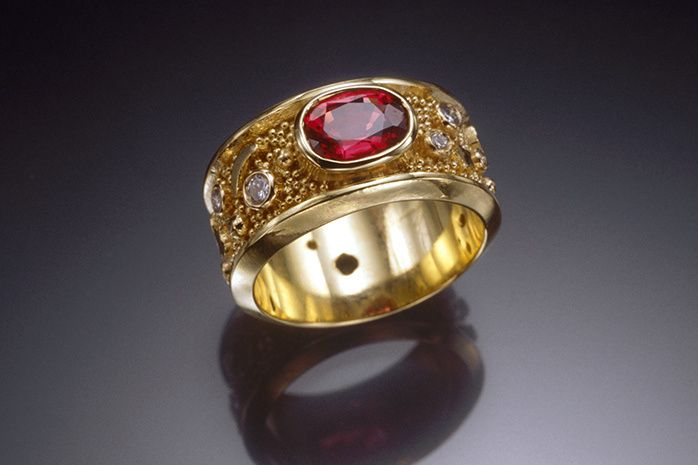 Ruby Passion Ring with Granulation