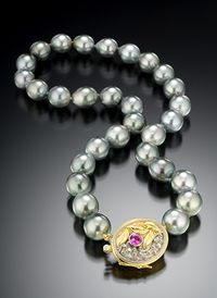 TAHITIAN PEARL NECKLACE WITH HANDMADE CLASP