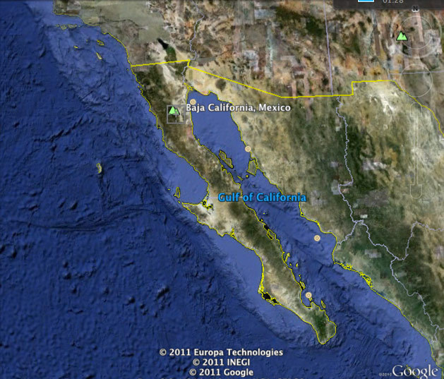 La península de Baja California, México: www.goolemaps.bajacalifornia.com