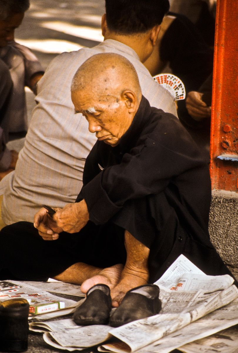 Old Man playing Cards, Hong Kong