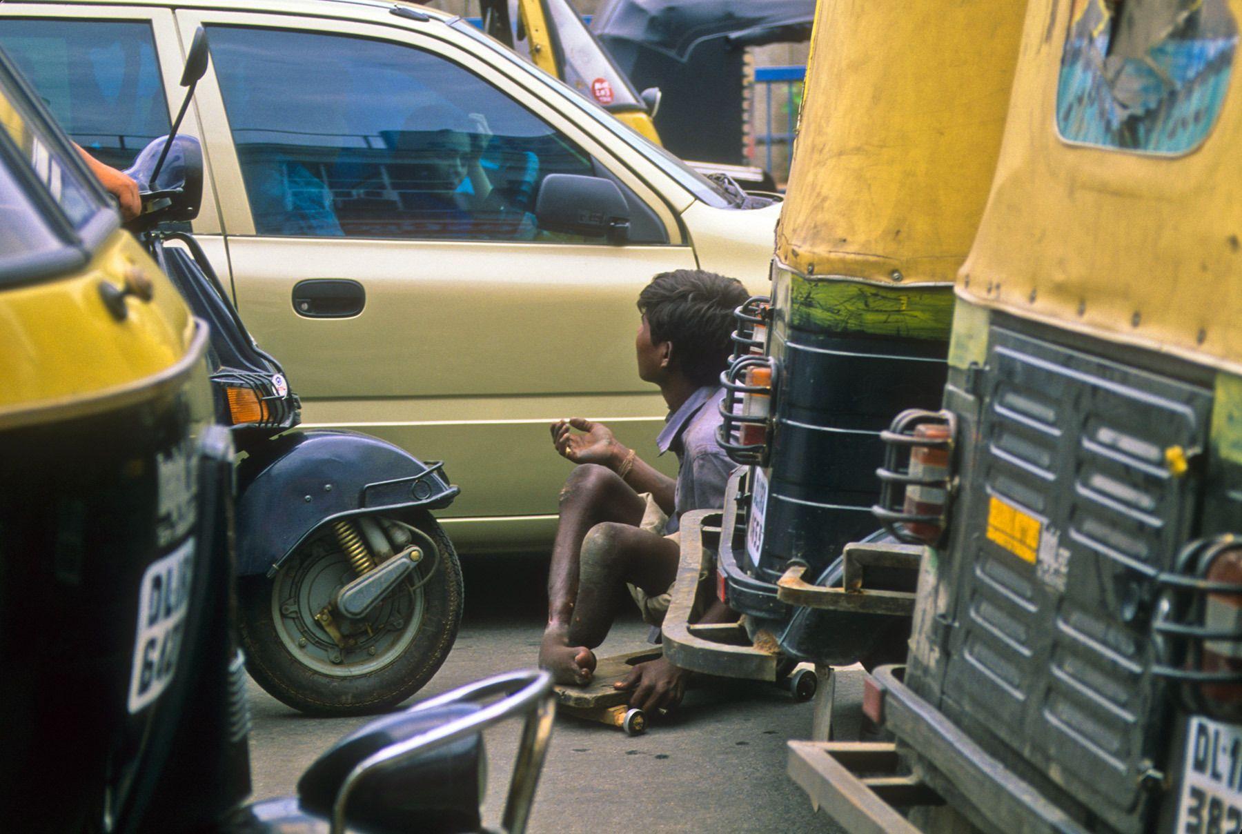 Crippled Beggar, New Delhi, India