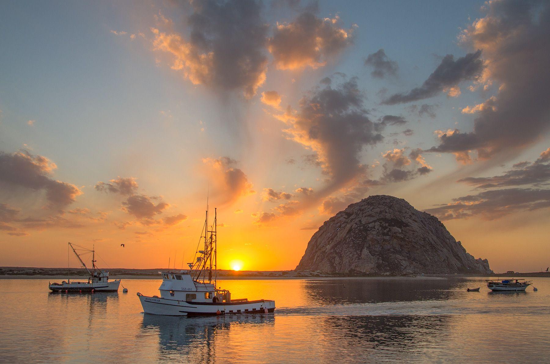 Morro Bay at Sunset, California