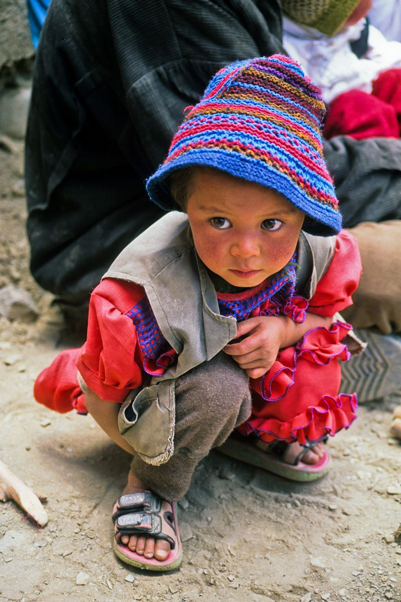 Child, Buddhist festival, Ladakh region, Northern India