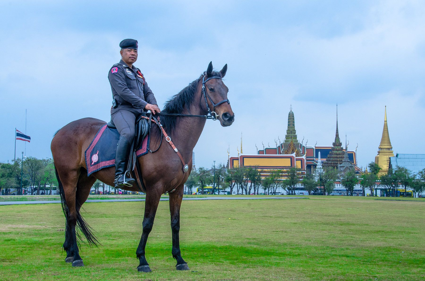 Policeman on Horseback, Field of Kings, Bangkok, Thailand