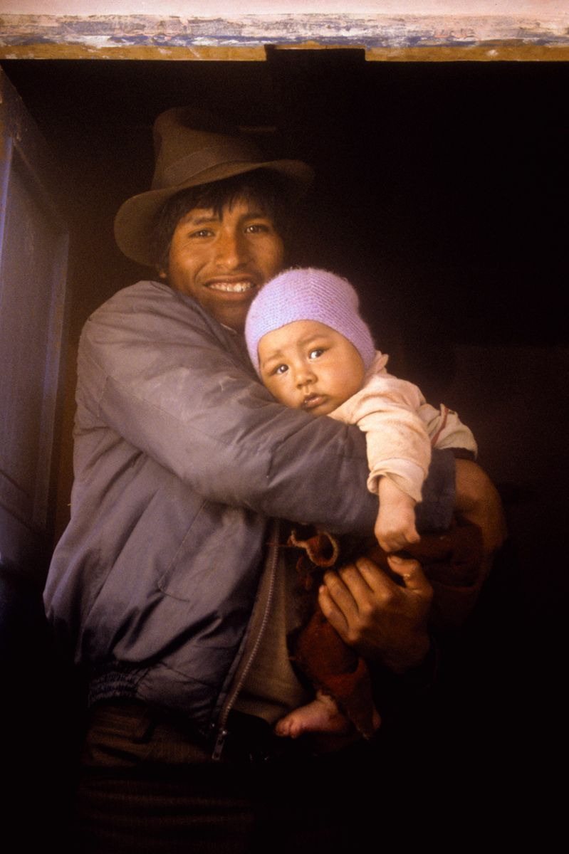 Father and Baby, Amantani Island, Lake Titicaca, Peru