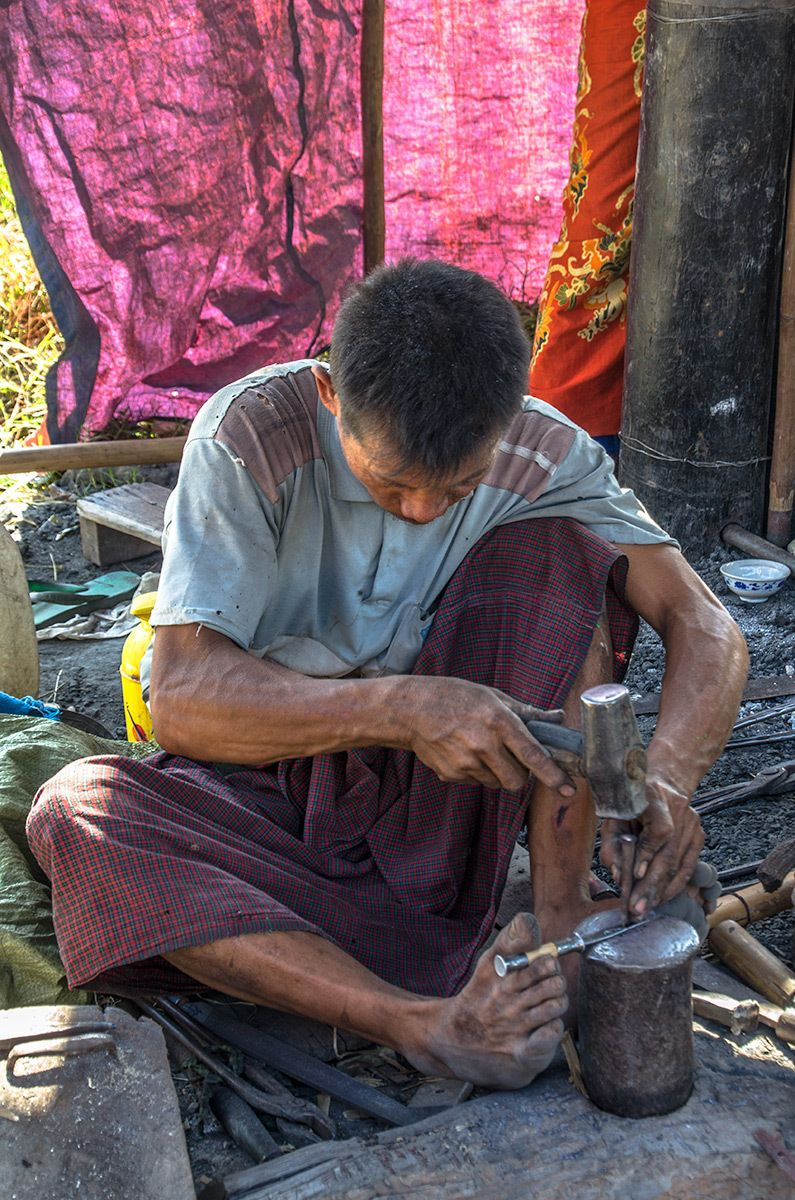 Knife Maker at Market along Inle Lake, Myanmar