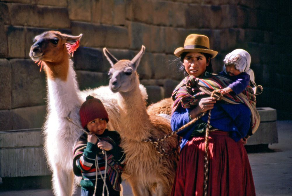 Family with Llamas, Cusco, Peru