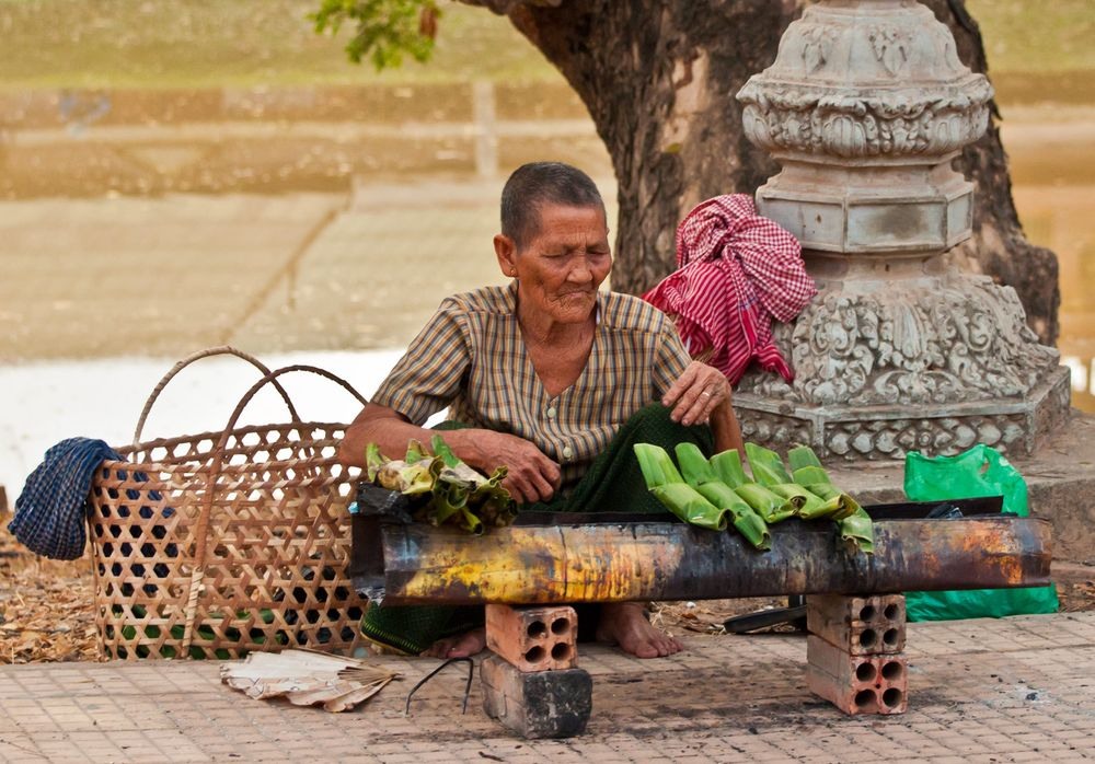 Old Woman Cooking Rice, Siem Reap, Cambodia