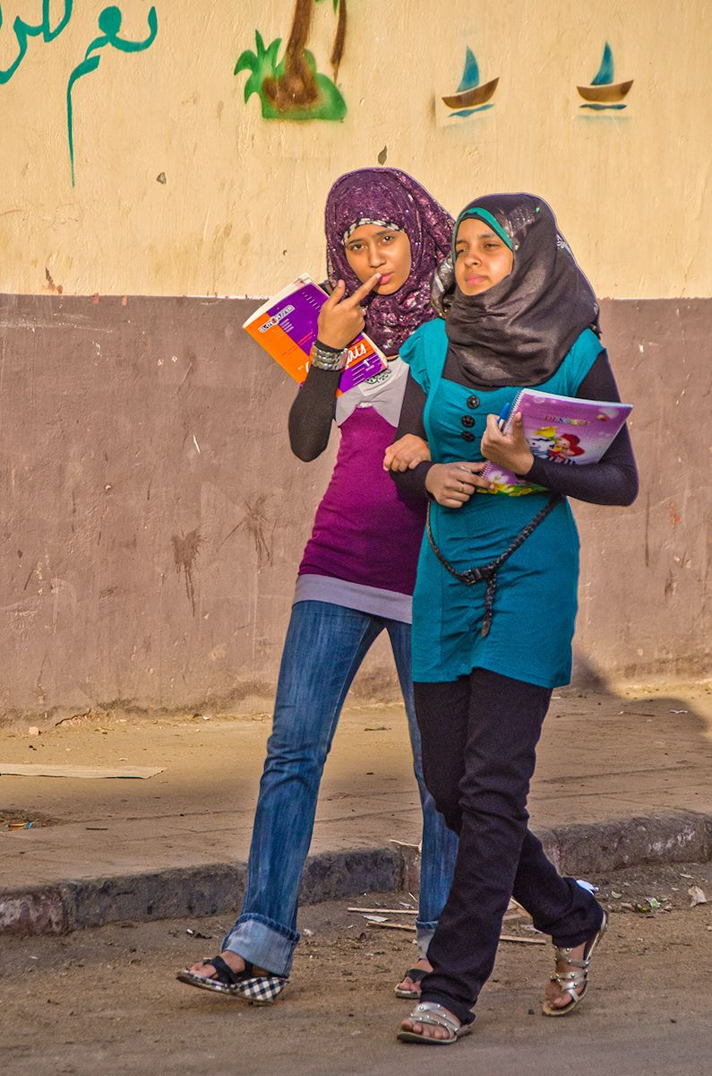 Moslem teenager girls, Nile Valley, Egypt