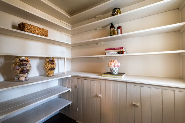 Light on pantry shelves farmhouse.