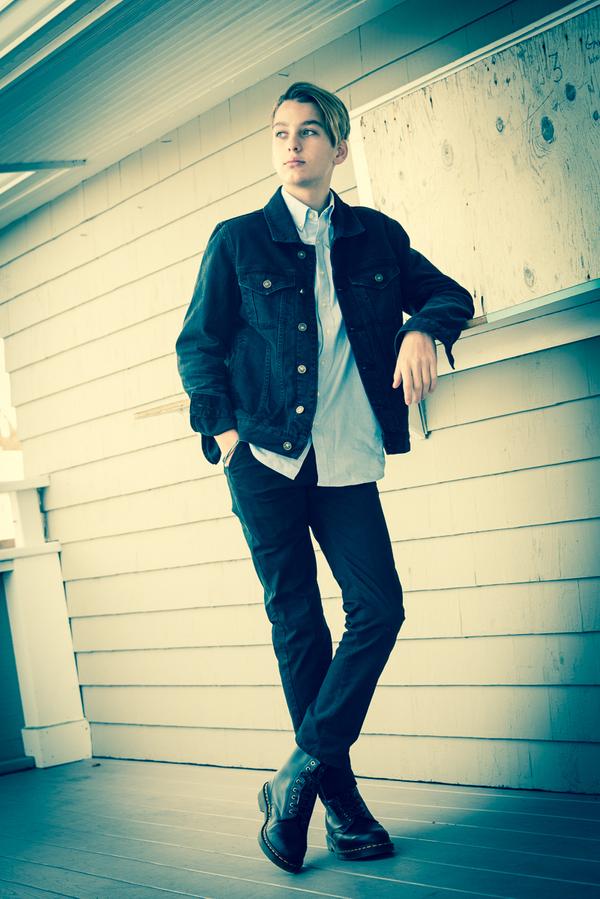 16 Year Old Boy in Jean Jacket