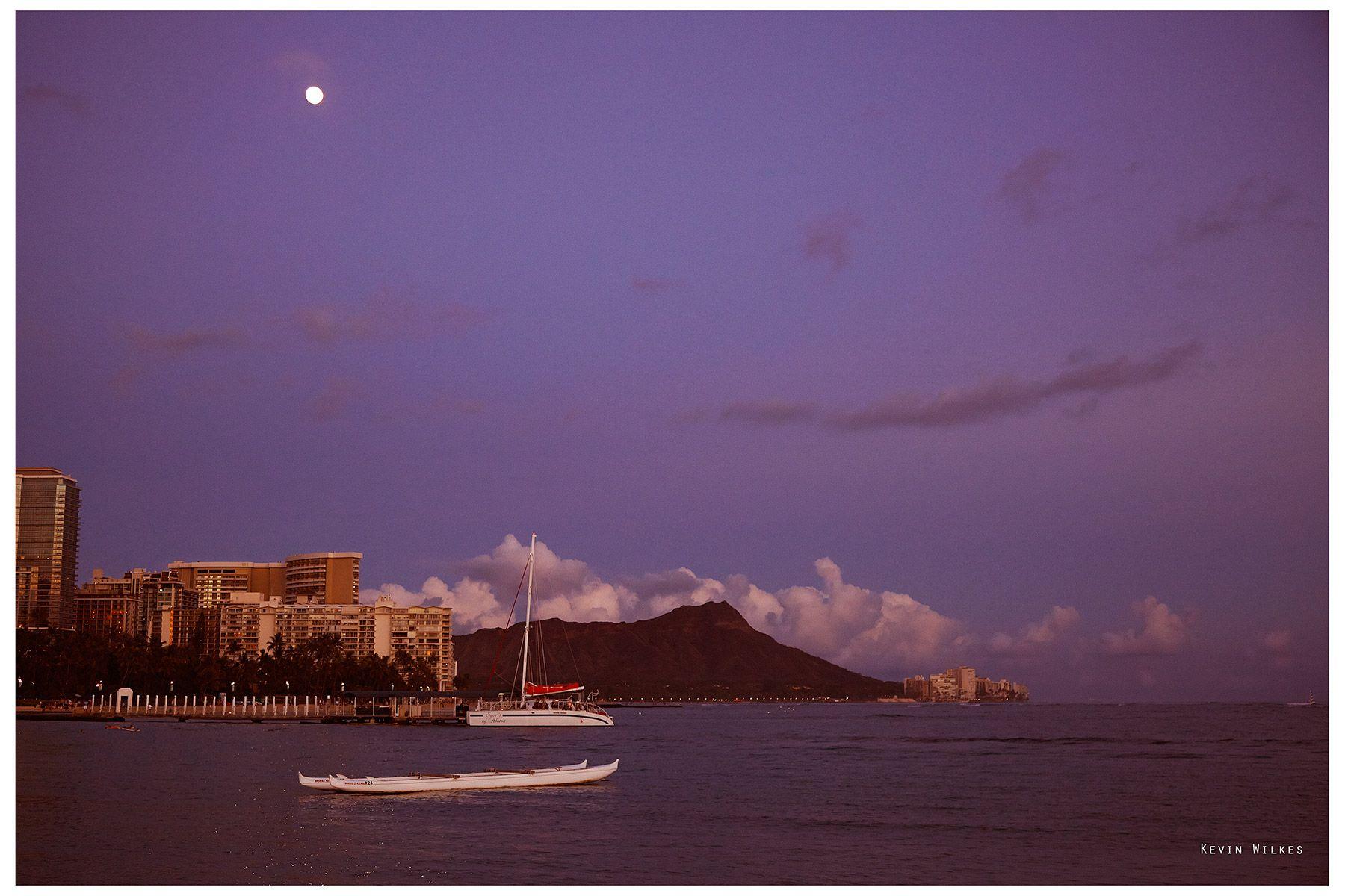 Moonrise over Diamond Head, Oahu.